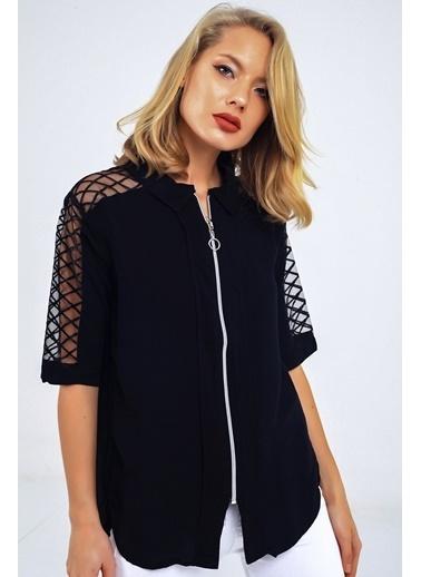 Emjey Ön Fermuarlı Omzu Çapraz Desenli Tül Gömlek Siyah